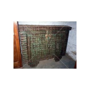 Vintage Indian Beautiful Ostentatious Solid Wood green color with heavy metal work Trunk