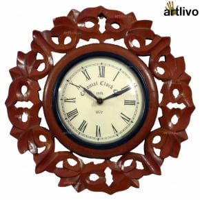 Wooden Carved Round Wall Clock 11""