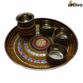 Decorative Multicolor Heavy Work Pooja Thali Set