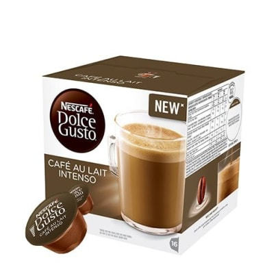Nescafé Café Au Lait Intenso package and capsule for Dolce Gusto