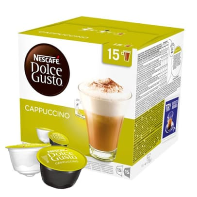 Nescafé Cappuccino Big Pack package and capsule for Dolce Gusto