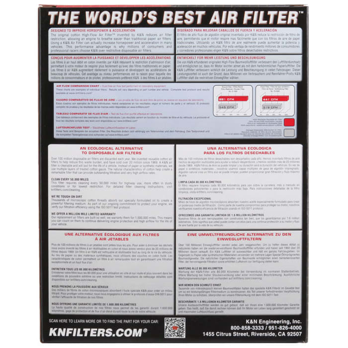 K/&N 33-2348 Performance Replacement Drop-In Air Filter