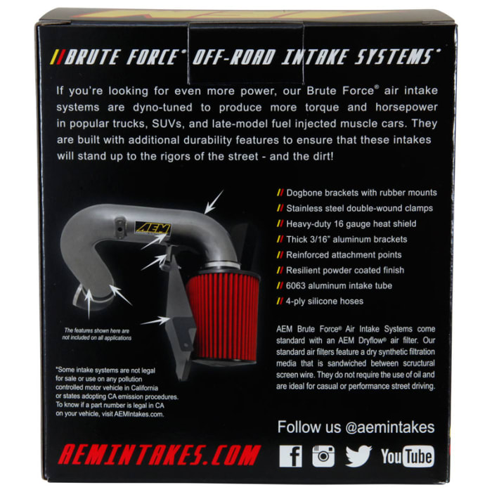 Part Number K/&N AEM DryFlow Air Filter AEM-21-205BF