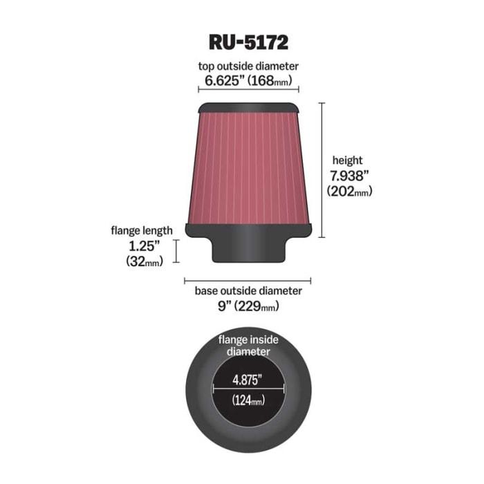 K/&N Universal Rubber Filter RU-5172
