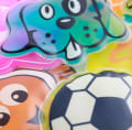 Blue dog, orange fish, football kids gel packs