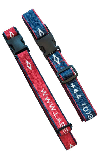 Baggage straps attached to case and adjusted to size