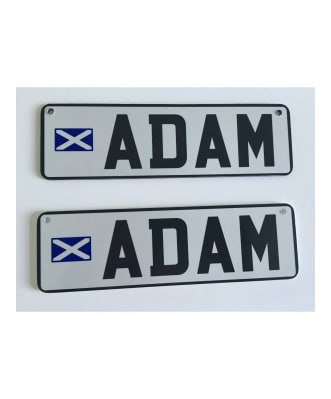 Personalised pram plates with a flag
