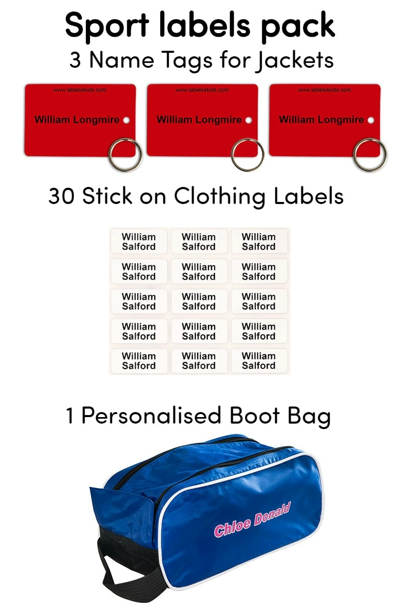 Jacket tag in sports pack by labels4kids in red