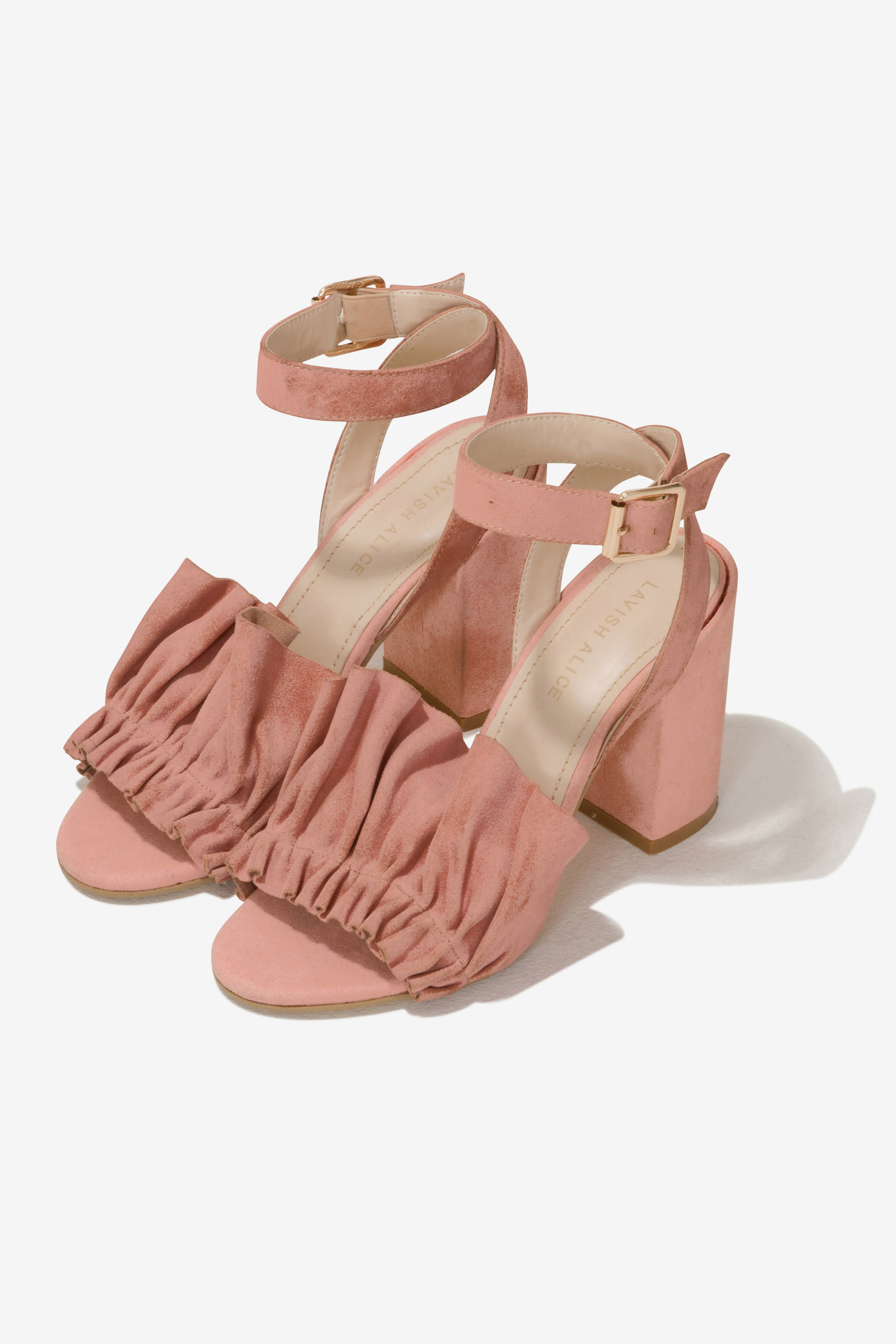 Suede Ruffle Sandals in Soft Pink
