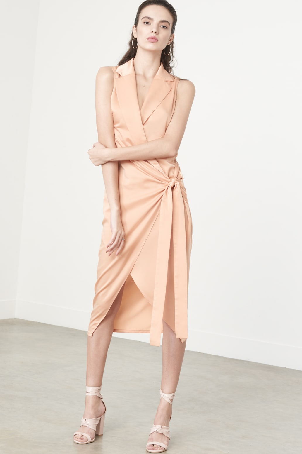 Knotted Tux Dress in Apricot Satin