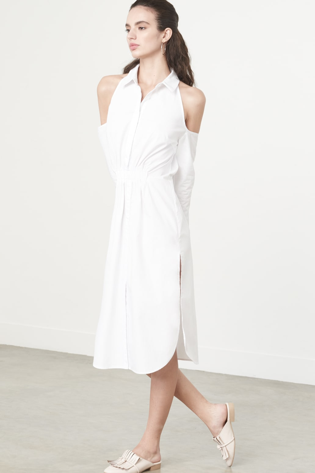 Cold Shoulder Shirt Dress in White Cotton