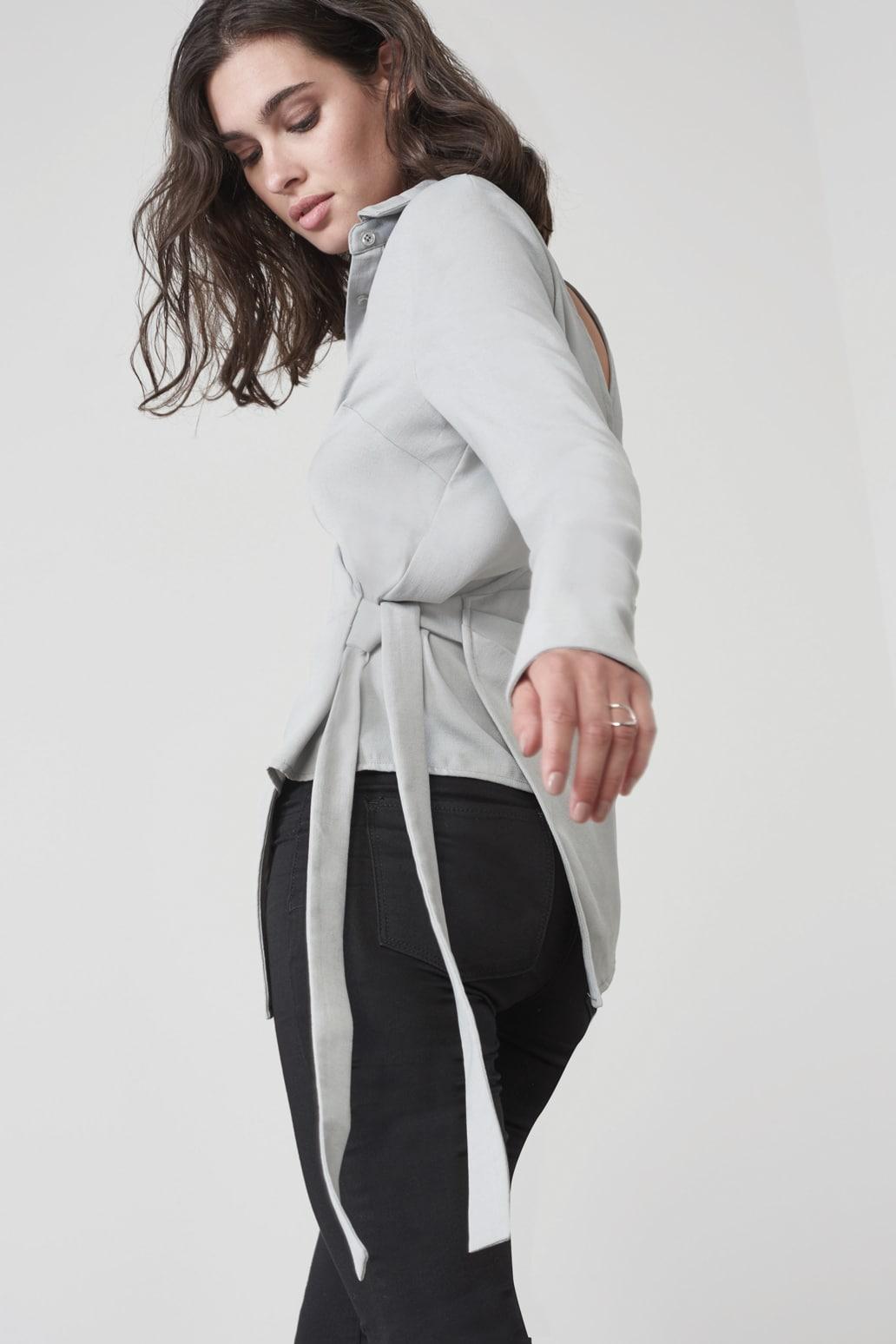 Asymmetric Wrap Shirt in Sage