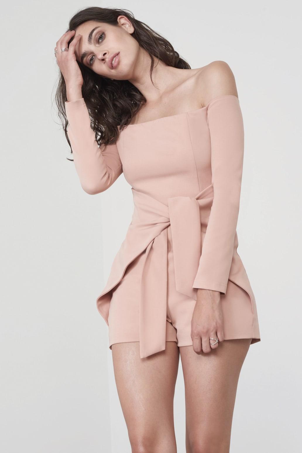 Tie Front Cold Shoulder Playsuit in Rose