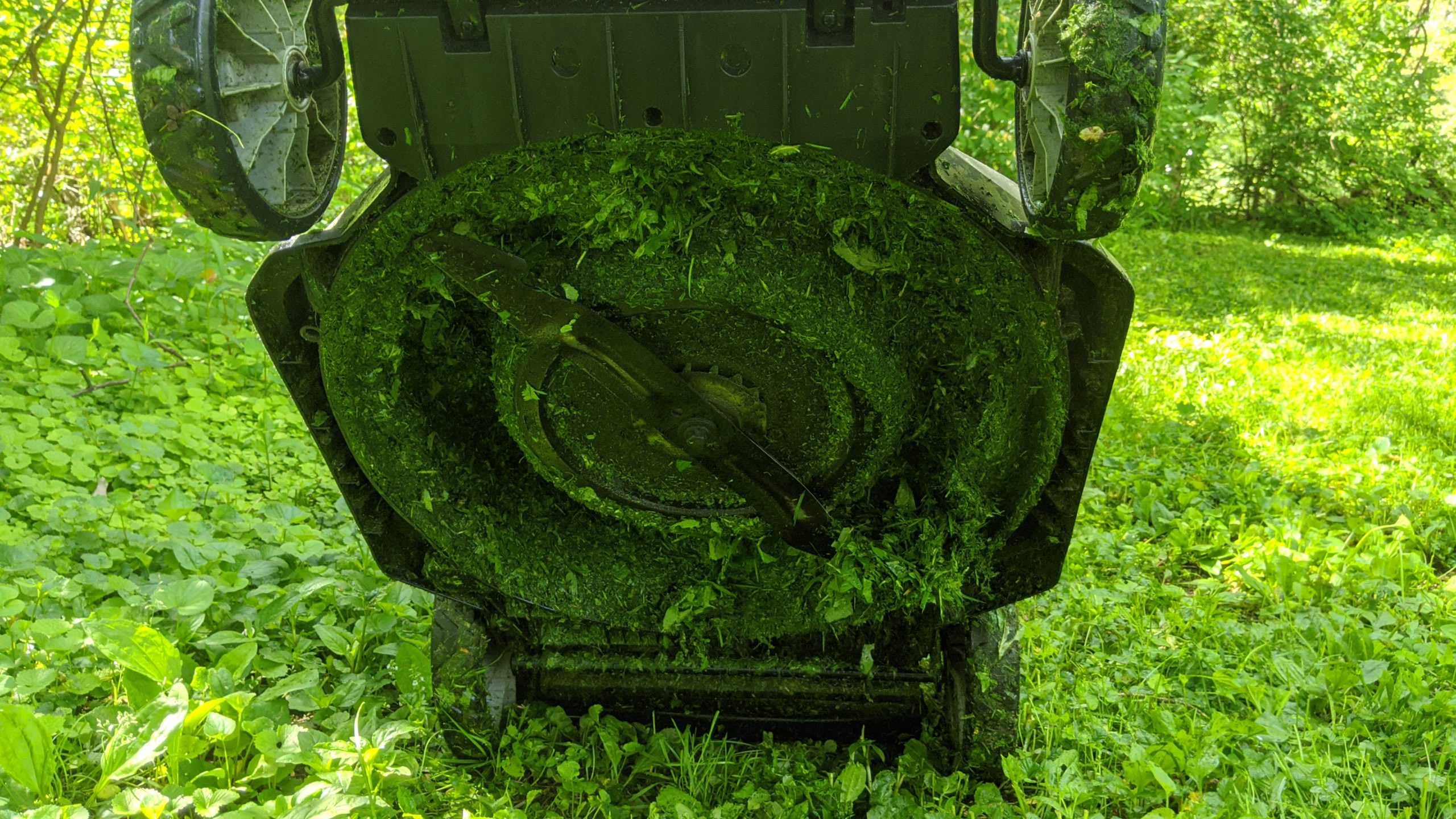 EGO LM2002 electric mower - underside with grass after wet cut