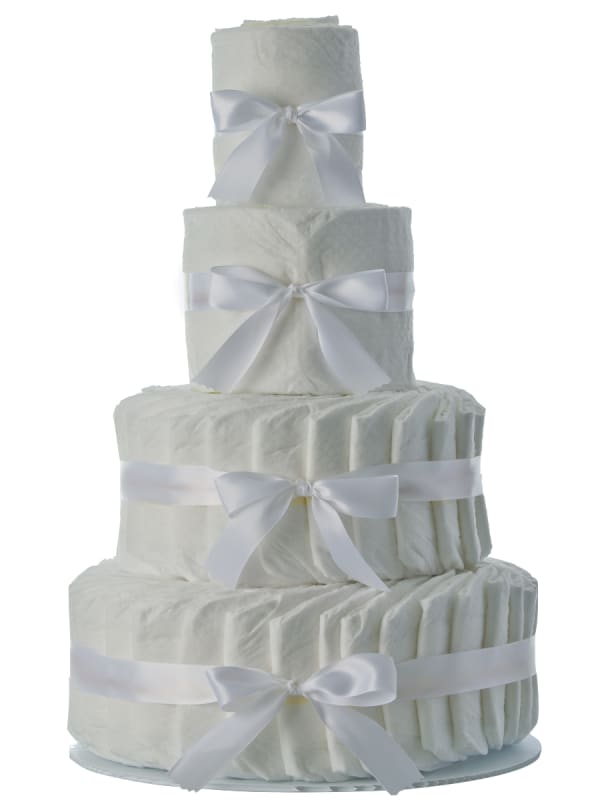 Plain White 4 Tier Diaper Cake
