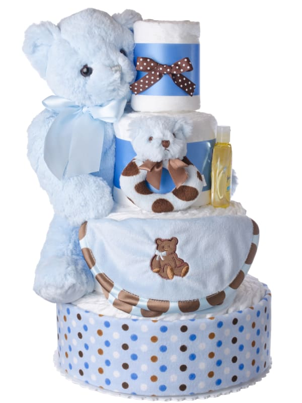 Baby Boy and Bears Diaper Cake for Boys