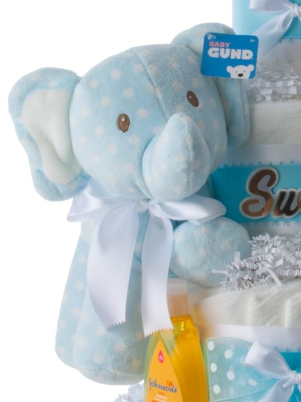 So Sweet Blue Elephant Diaper Cake for Boys