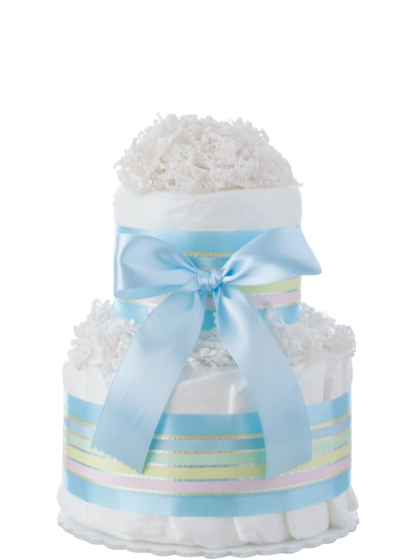 Blue Two Tier Mini Diaper Cake