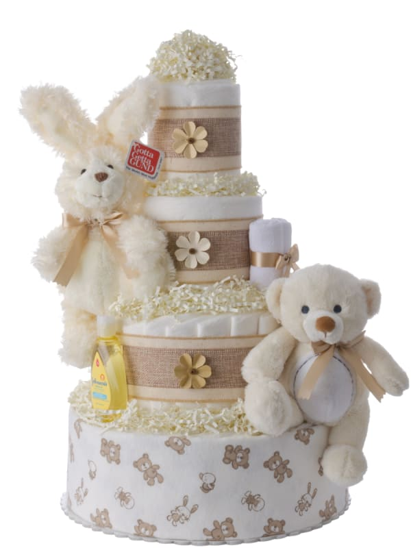 Bunnies and Bears Neutral Pampers Cake