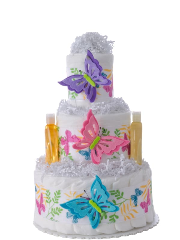 Butterfly 3 Tier Baby Girl Diaper Cake