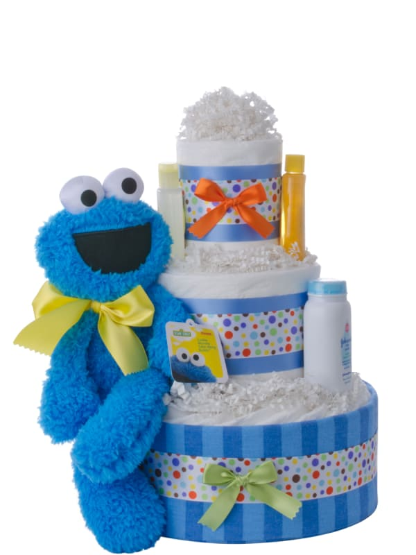 Cookie Monster Neutral Diaper Cake