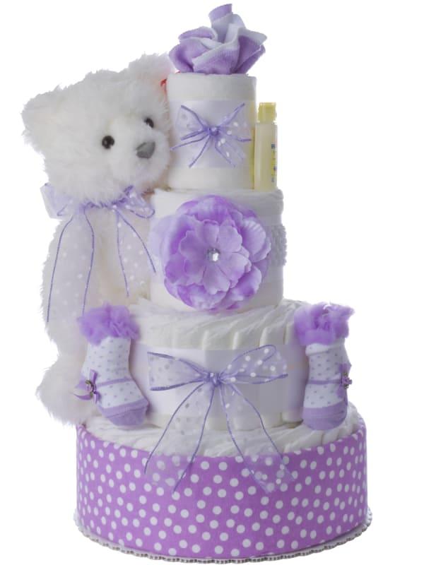 Lavender Lady Diaper Cake for Girls