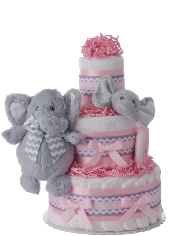 My Elephant Friend Diaper Cake - Pink