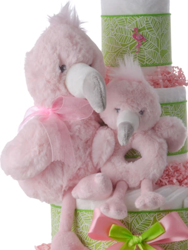 Pink Flamingo Pampers Cake for Girls