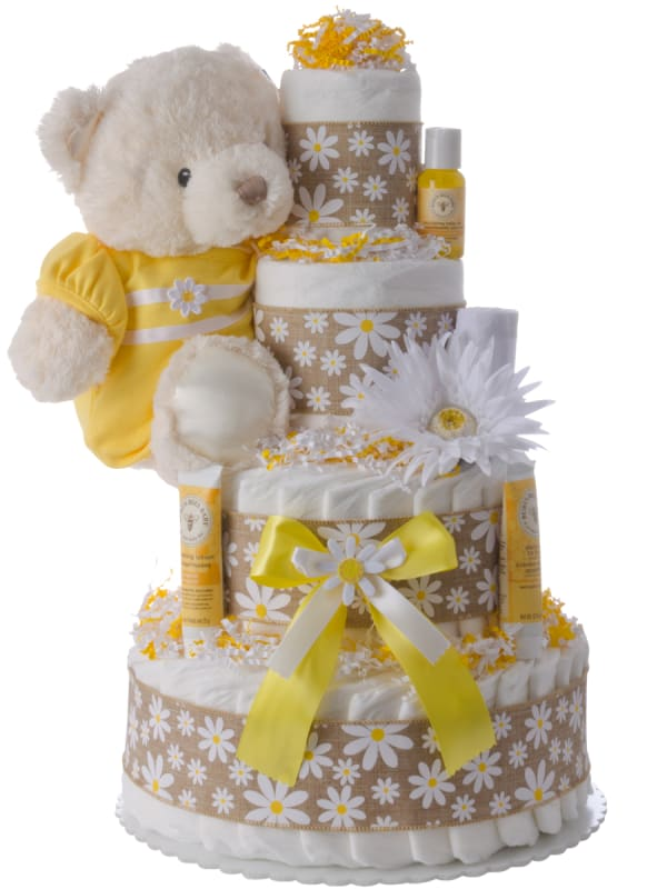 Fresh As A Daisy 4 Tier Diaper Cake