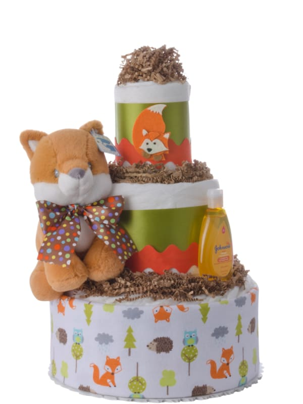 Fun Fox Neutral Baby Diaper Cake