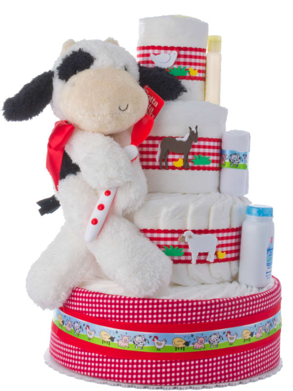 Fuzzy Cow Baby Shower Diaper Cake