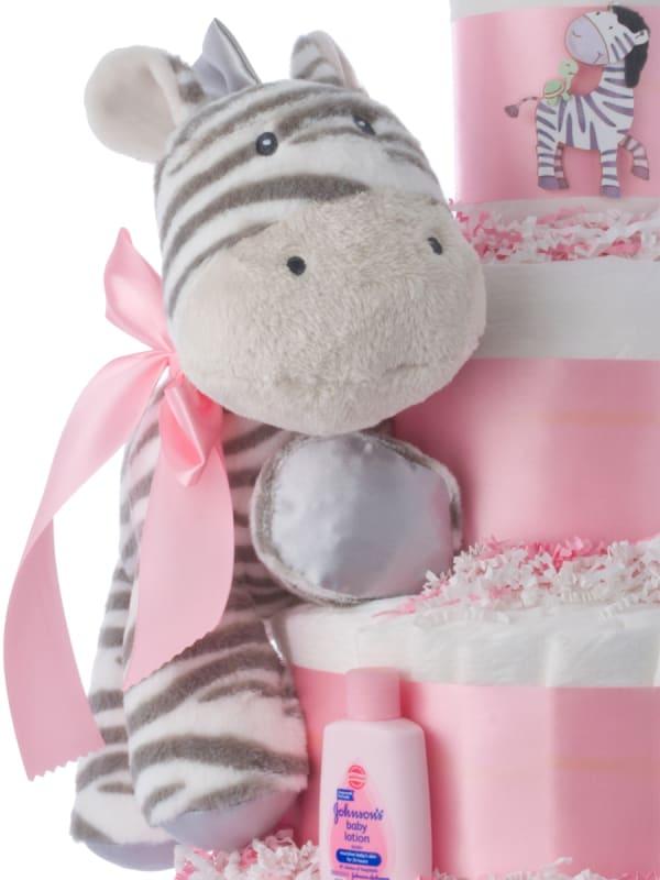 Lil' Miss Zebra Diaper Cake for Girls