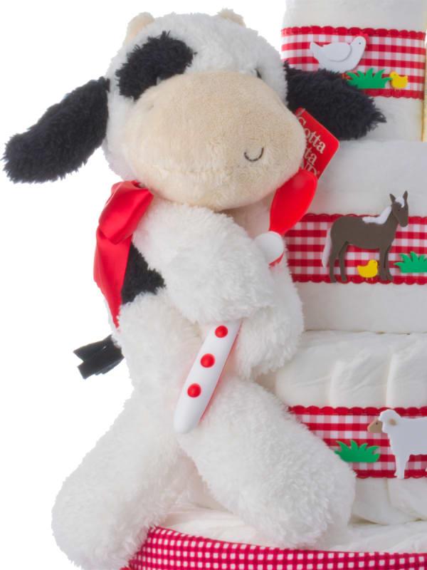 Fuzzy Cow Baby Shower Diaper Cake