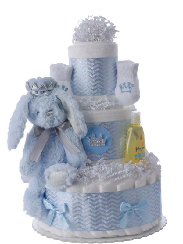 Lil' Blue Bunny Prince Diaper Cake for Boys