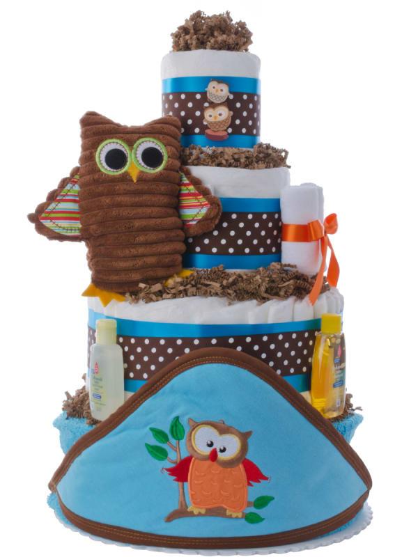 Owl Towel Baby Diaper Cake