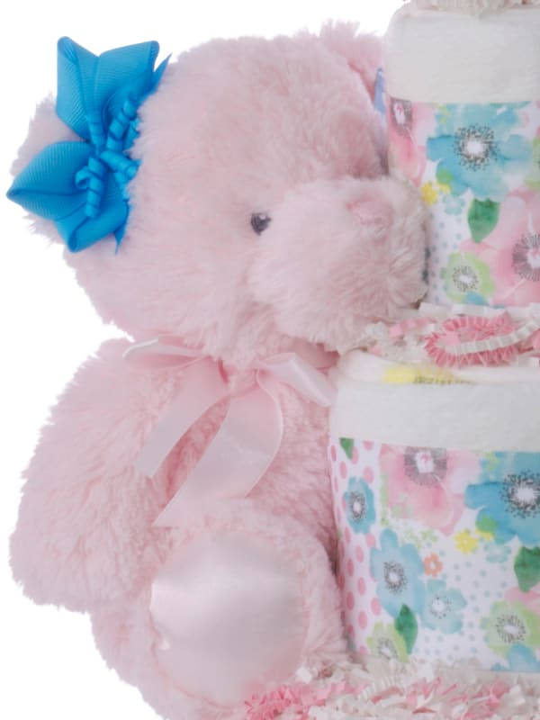 Dots and Flowers Baby Diaper Cake