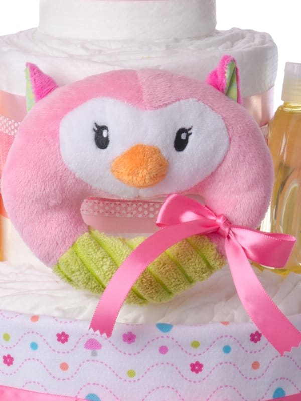 Pink Owl Rattle Diaper Cake for Girls