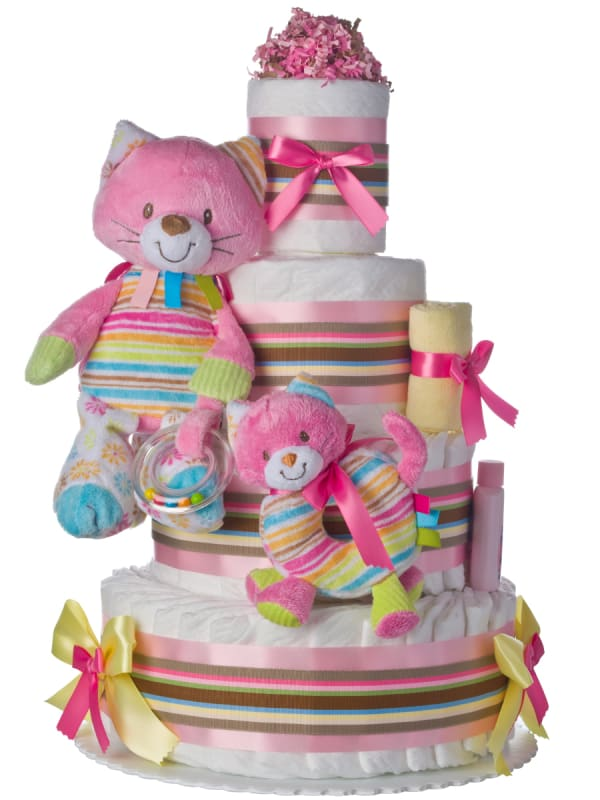 Rainbow Kitty Cat 4 Tier Baby Diaper Cake