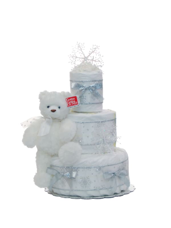 Holiday Snowflake 3 Tier Diaper Cake