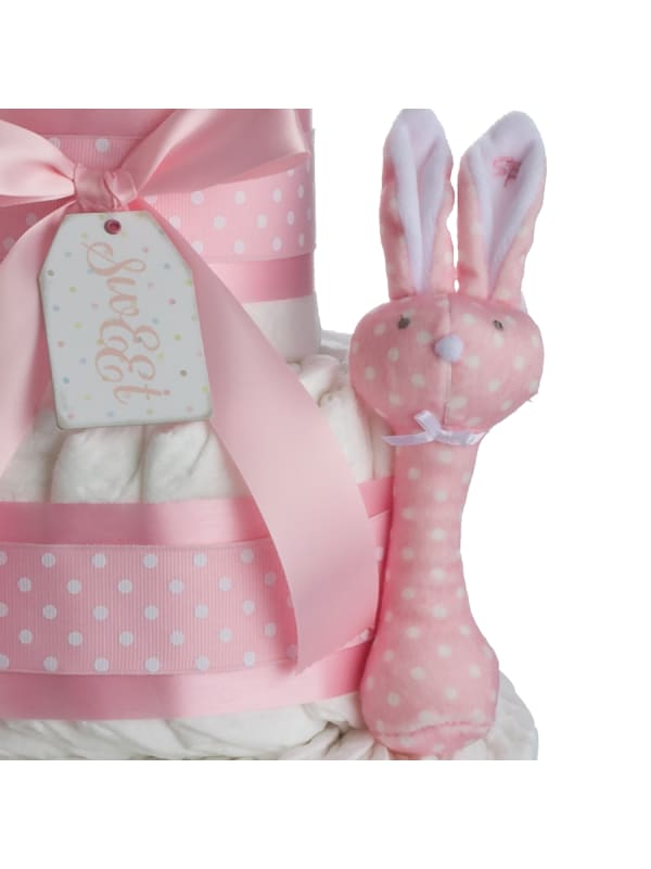 Pink Some Bunny Loves Me 4 Tier Diaper Cake