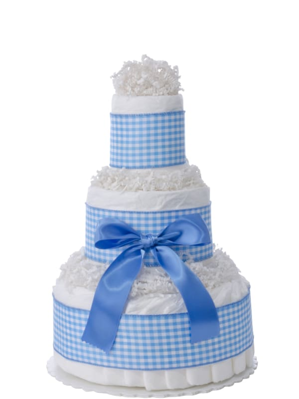 Sweet Blue Gingham 3 Tier Diaper Cake