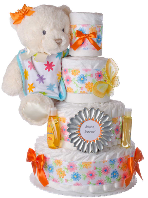 Welcome Buttercup Baby Diaper Cake for Girls