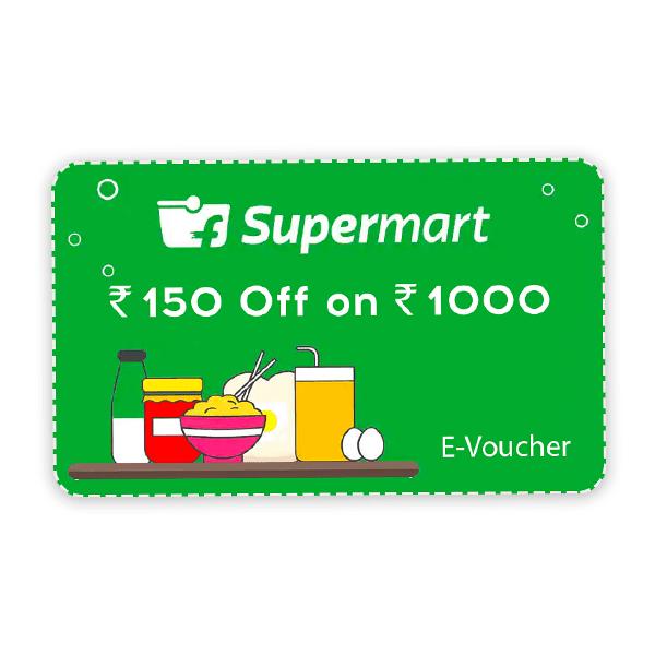 Flipkart Supermart e-Voucher - Rs. 150 Off on Rs. 1000