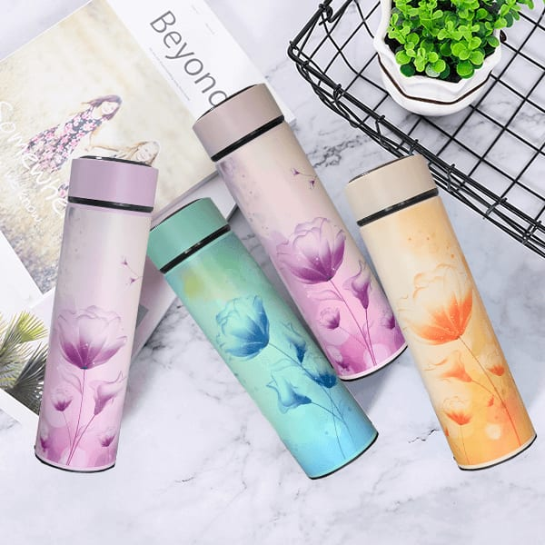 Double Wall Vacuum Insulated Stainless Steel Flower Themed Flask(Assorted colors) Buy 1 Get 1 Free