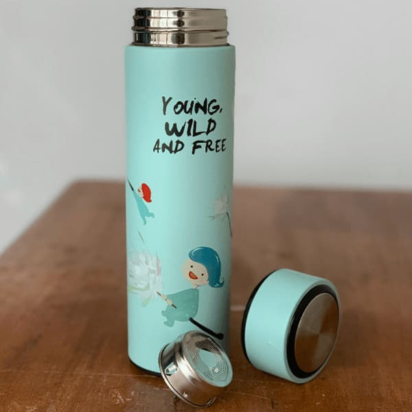 Double Wall Vacuum Insulated Stainless Steel Young Wild and Free Flask