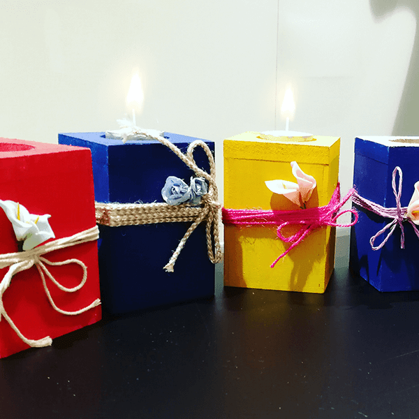 Wooden candle holders Set of 6 (Get Before Diwali)