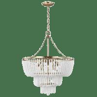 Jackie Six Light Chandelier Satin Brass Bulbs Inc