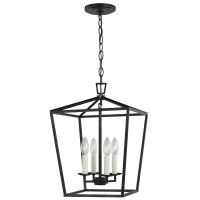 Dianna Four Light Small Lantern Midnight Black Bulbs Inc