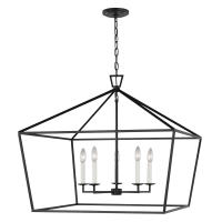 Dianna Five Light Wide Lantern Midnight Black Bulbs Inc