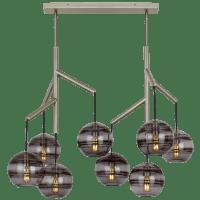 Sedona Double Chandelier Double Transparent Smoke Satin Nickel no lamp
